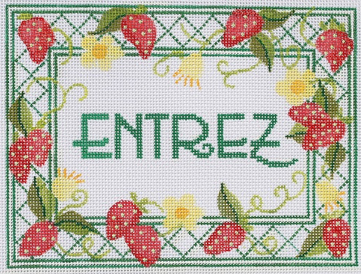 click here to view larger image of Entrez - Strawberries (hand painted canvases)