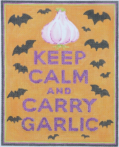 click here to view larger image of Keep Calm and Carry Garlic (hand painted canvases)