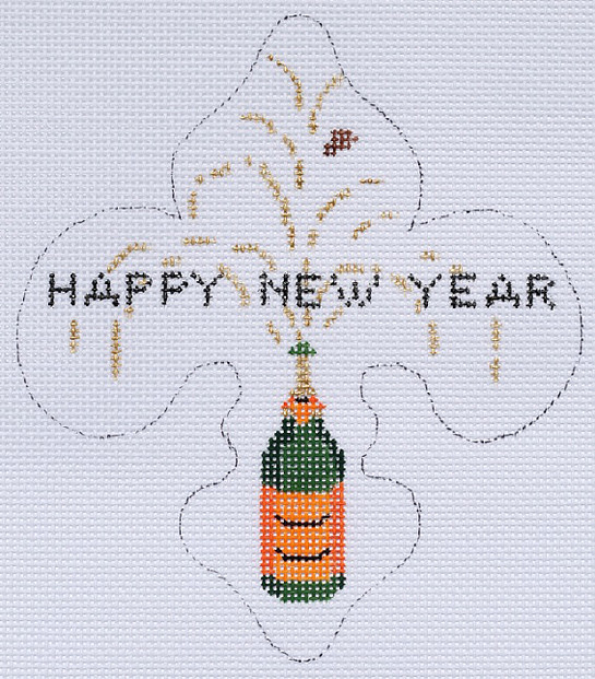 click here to view larger image of Happy New Year Fleur de Lys With Champagne (January) (hand painted canvases)
