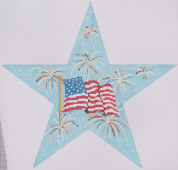 click here to view larger image of 4th of July Star (hand painted canvases)