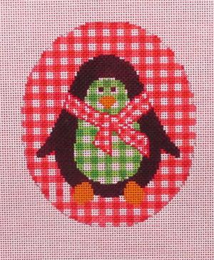 click here to view larger image of Gingham Penguin Ornament (hand painted canvases)