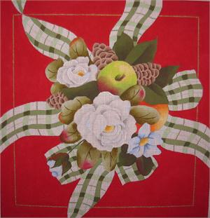 click here to view larger image of Christmas Rose Pillow (hand painted canvases)