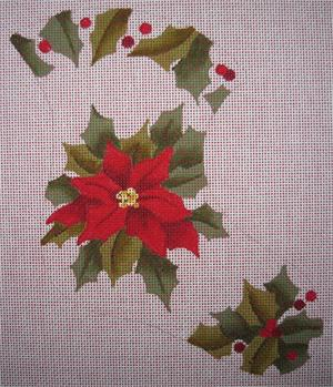 click here to view larger image of Poinsettia Mini Stocking (hand painted canvases)
