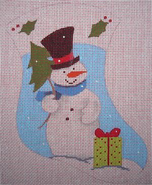 click here to view larger image of Christmas Tree Snowman Mini Stocking (hand painted canvases)