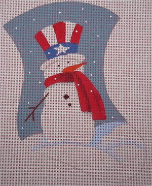 click here to view larger image of Patriotic Snowman Mini Stocking (hand painted canvases)