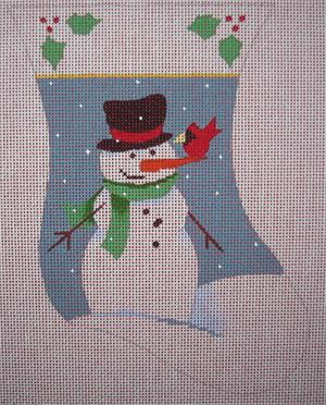 click here to view larger image of Snowman With Cardinal Mini Stocking (hand painted canvases)
