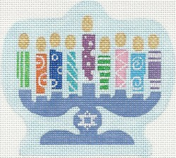 click here to view larger image of Festive Menorah (hand painted canvases)