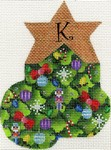 click here to view larger image of Christmas Tree Mini Sock - K (hand painted canvases)