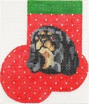 click here to view larger image of Black and Tan King Charles Cavalier Mini Sock (hand painted canvases)