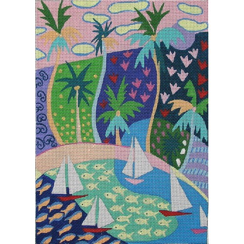 click here to view larger image of Palm Pattern (hand painted canvases)