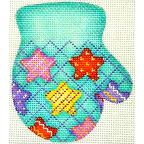 click here to view larger image of Christmas Ornament / Mitten (R) / Multi-Colored Stars / Aqua Background (hand painted canvases)