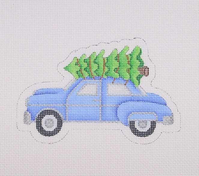click here to view larger image of Blue Car w/Christmas Tree   (hand painted canvases)