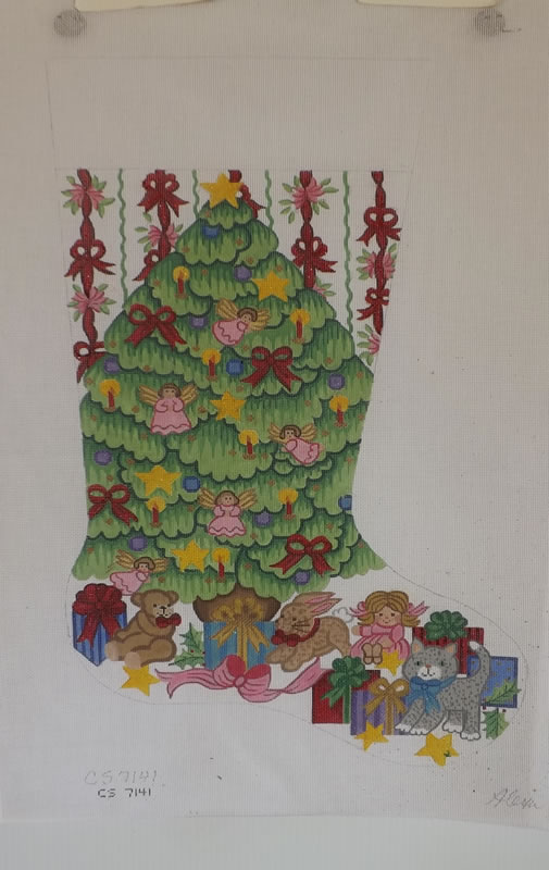 click here to view larger image of Christmas Stocking - Christmas Tree With Girl Toys (hand painted canvases)