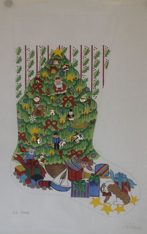 click here to view larger image of Christmas Stocking - Christmas Tree With Boy Toys (hand painted canvases)