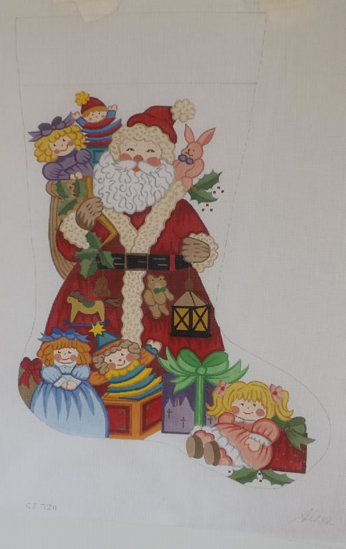 click here to view larger image of Christmas Stocking - 13ct - Santa With Dolls (hand painted canvases)