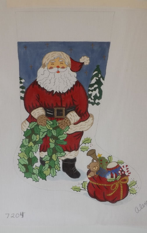 click here to view larger image of Christmas Stocking - Santa With Wreath - 18ct (hand painted canvases)
