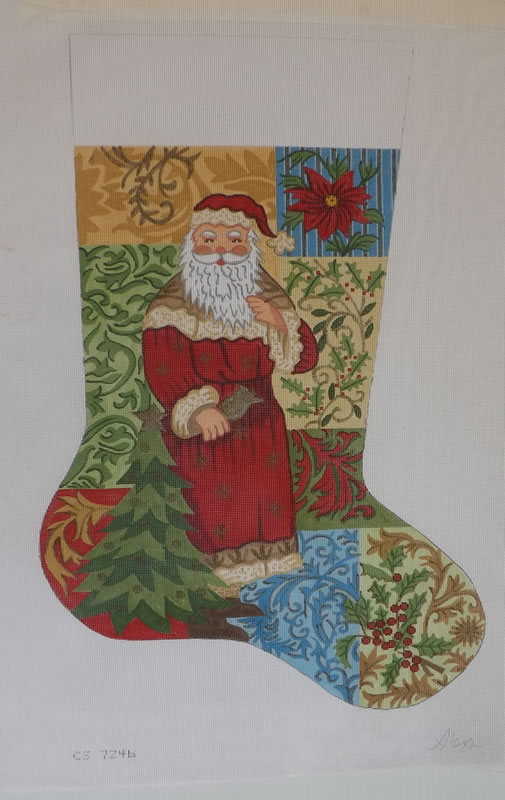 click here to view larger image of Christmas Stocking - Santa On Patchwork (hand painted canvases)