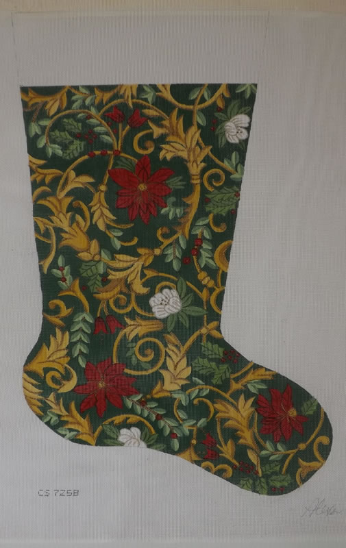 click here to view larger image of Christmas Stocking - Poinsettia - 13ct (hand painted canvases)