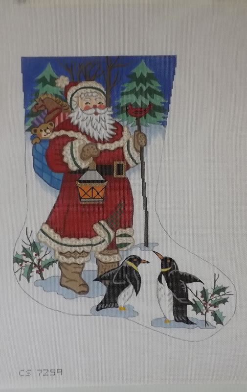 click here to view larger image of Christmas Stocking - Santa With Penguins - 18ct (hand painted canvases)