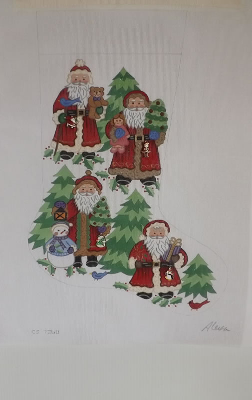 click here to view larger image of Christmas Stocking - Four Santas (hand painted canvases)