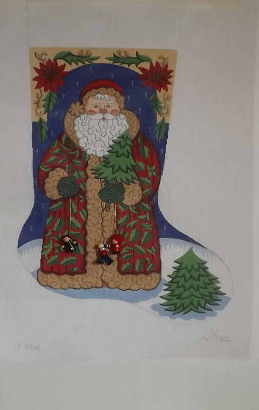 click here to view larger image of Christmas Stocking - Santa w/Christmas Tree  (hand painted canvases)