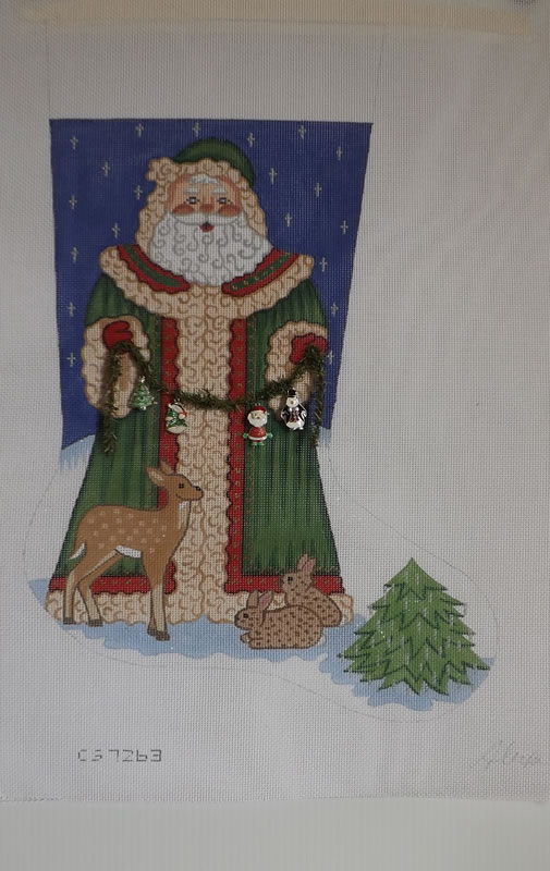 click here to view larger image of Christmas Stocking - Santa With Deer and Rabbits - 18ct (hand painted canvases)