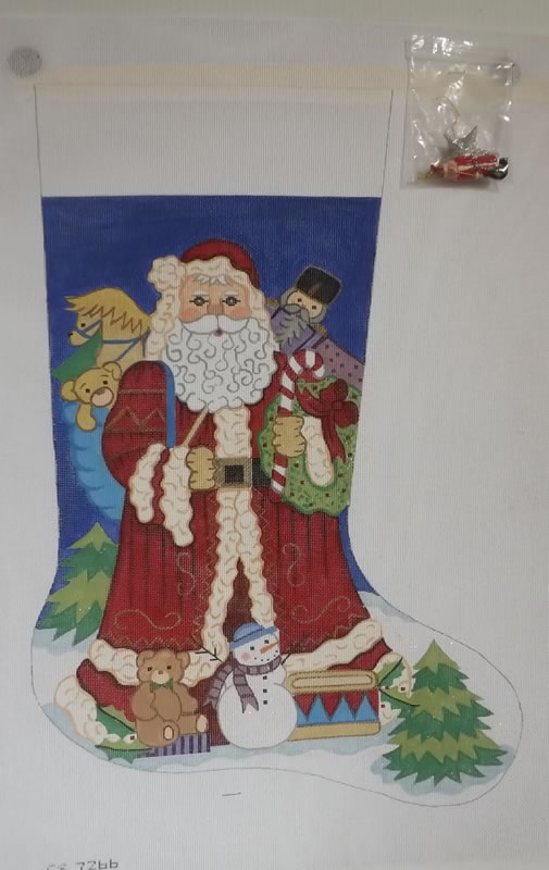 click here to view larger image of Christmas Stocking - Santa With His Sack of Toys - 13ct (hand painted canvases)