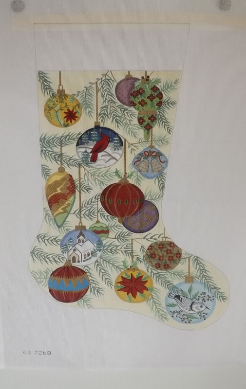 click here to view larger image of Christmas Stocking - Christmas Oranments   (hand painted canvases)