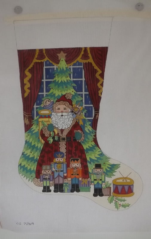 click here to view larger image of Christmas Stocking - Santa With Nutcrackers - 18ct (hand painted canvases)