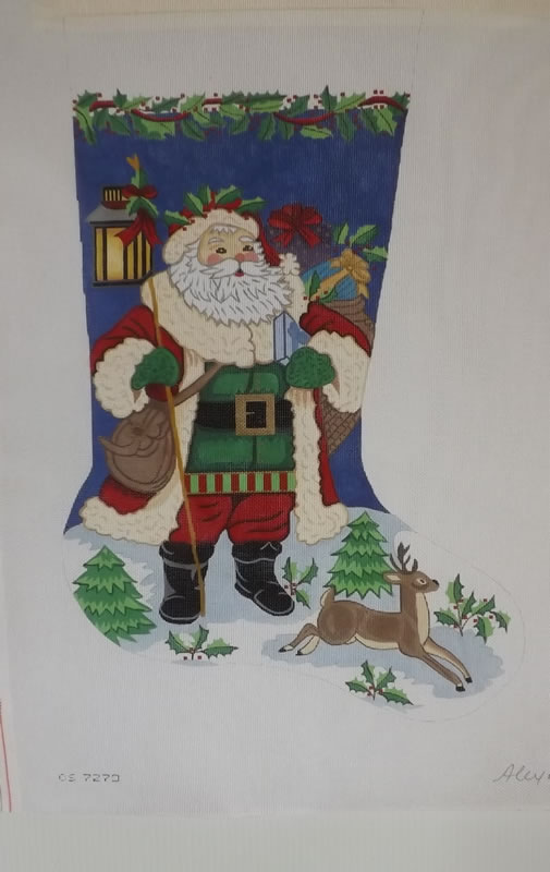 click here to view larger image of Christmas Stocking - Santa With Deer - 13ct (hand painted canvases)