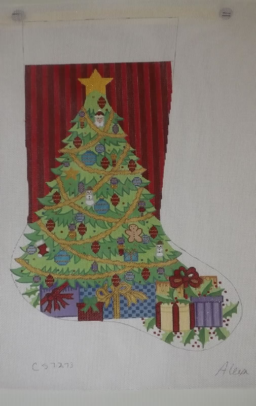 click here to view larger image of Christmas Stocking - Christmas Tree With Presents - 13ct (hand painted canvases)