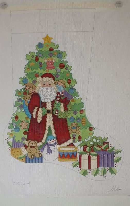 click here to view larger image of Christmas Stocking - Santa With Christmas Tree - 13ct (hand painted canvases)