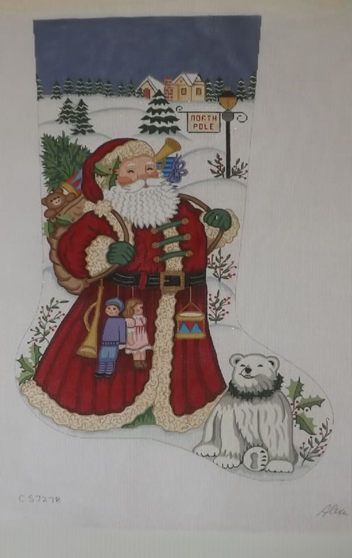 click here to view larger image of Christmas Stocking - Santa With Polar Bear - 13ct (hand painted canvases)