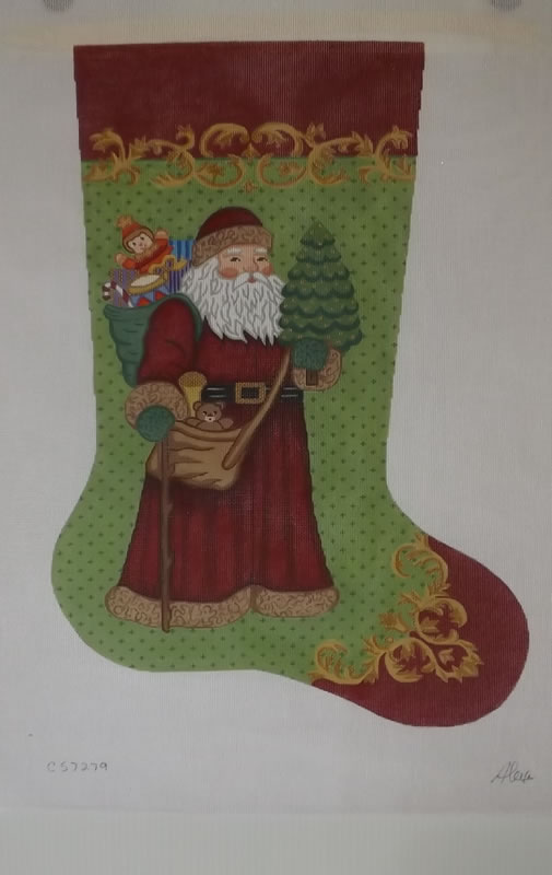 click here to view larger image of Christmas Stocking - Santa Holding Christmas Tree - 18ct (hand painted canvases)