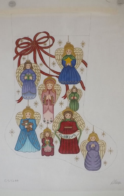 click here to view larger image of Christmas Stocking - Angel Ornaments - 18ct (hand painted canvases)