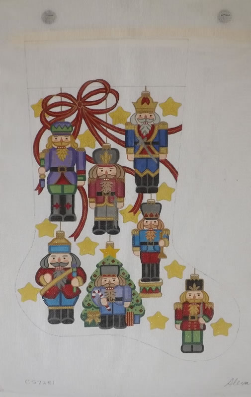 click here to view larger image of Christmas Stocking - Nutcracker Ornaments - 18ct (hand painted canvases)