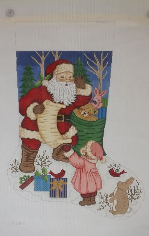 click here to view larger image of Christmas Stocking - Santa With Little Girl - 13ct (hand painted canvases)