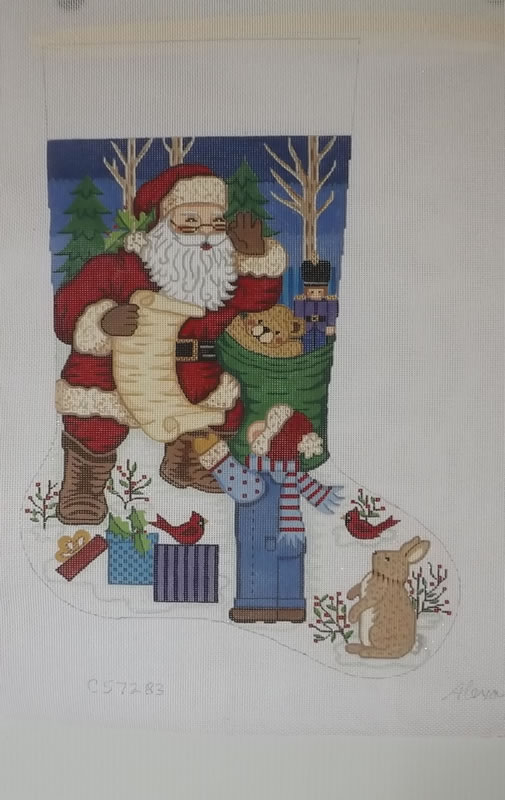 click here to view larger image of Christmas Stocking - Santa With Little Boy - 13ct (hand painted canvases)