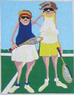 click here to view larger image of Tennis Mamas 2 (hand painted canvases)