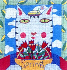 click here to view larger image of Spring Cat (hand painted canvases)
