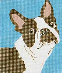 click here to view larger image of Larry - Boston Terrier (hand painted canvases)