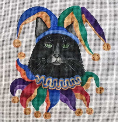 click here to view larger image of Mardi Gras Jester - Costume Cats (hand painted canvases)