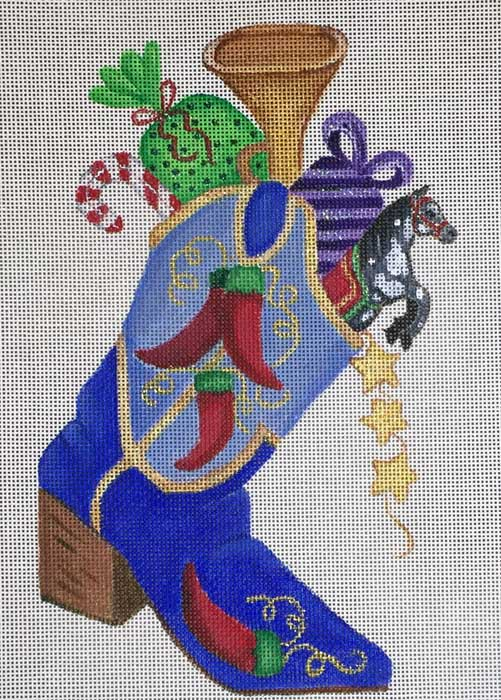 click here to view larger image of Blue Christmas Boot (hand painted canvases)