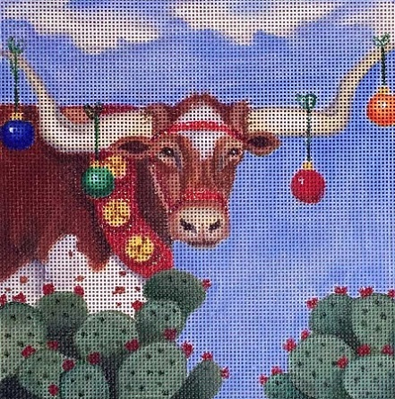 click here to view larger image of Longhorn Christmas (hand painted canvases)