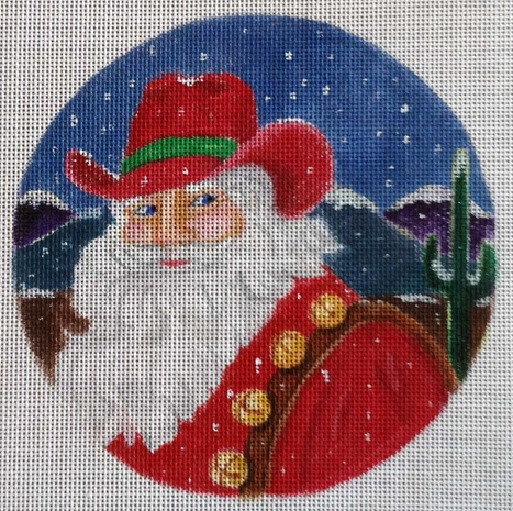 click here to view larger image of Cowboy Santa Ornament (hand painted canvases)