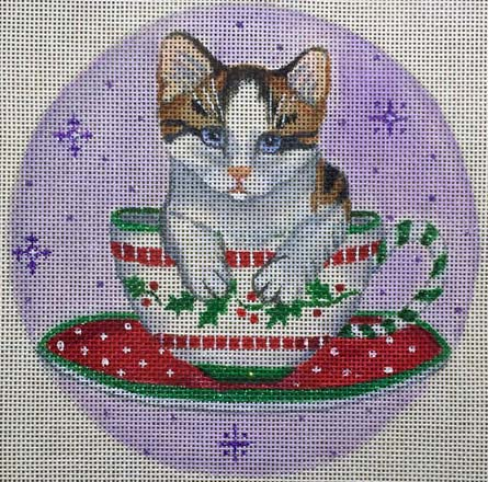 click here to view larger image of Teacup Kitty Ornament (hand painted canvases)
