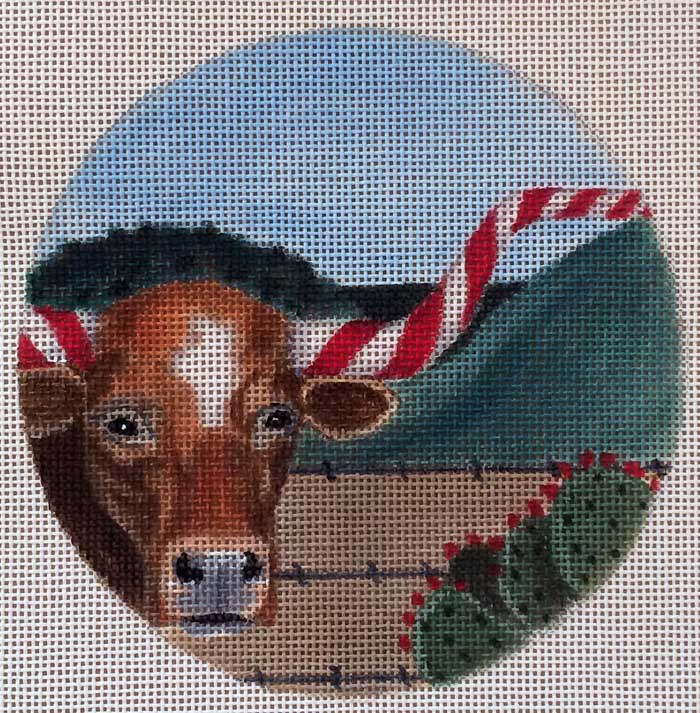 click here to view larger image of Candycane Longhorn Ornament (hand painted canvases)
