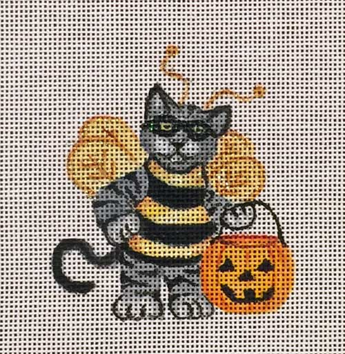 click here to view larger image of Bee Kitty Ornament (hand painted canvases)