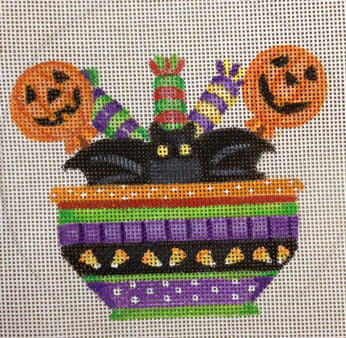 click here to view larger image of Bat Treat Bowl Ornament (hand painted canvases)