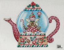 click here to view larger image of Elf Teapot Snowglobe (hand painted canvases)